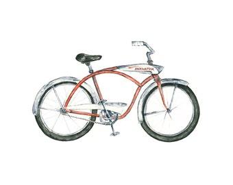 bike art print // 8x10 - vintage hiawatha bicycle watercolor giclee print // wall decor