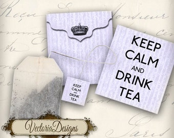 Printable Keep Calm and Drink Tea Bag Holder violet envelope tag digital collage sheet VD0106