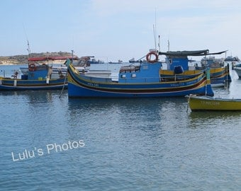 Fishing Boats of Malta, Landscape Photography, Personalized Cards, Prints