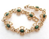 Avon Bracelet with Jade Green Cabochons
