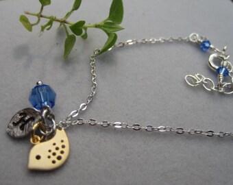 Tiny Cute little bird, Birthstone, Initial, Personalized Sterling silver bracelet, Flower girl gift, Birthday gift for little girl