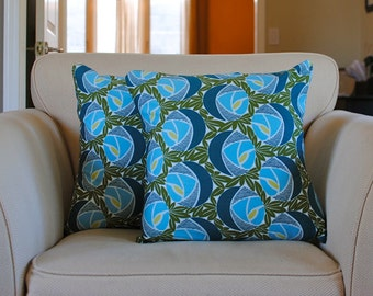 Blue and Green Pillow covers with unique floral pattern.  Two (2) pillow covers for 18x18 inserts.  Classica Sateen by Annette Tatum.