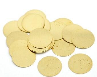 """20 Raw Brass Sheet Metal Stamping Blanks, CIRCLE DISC shape, no hole, 16mm (5/8"""")  22 gauge msb0055"""