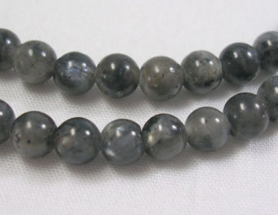 "1 Strand 15.5"" Round LABRADORITE Beads, 4mm  Natural Gemstones . shades of black, grey glb0003"