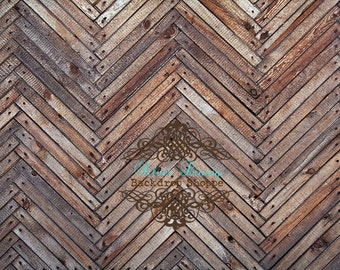NEW PRICE 7ft x 5ft foot VINYL Photography Backdrop  - Chevron Wood