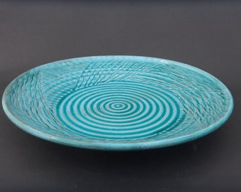 Handmade Turquoise Earthenware Party Platter