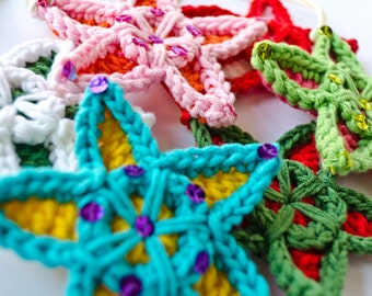 Instant Download - PDF Crochet Pattern - Multicolor star - Text instructions and SYMBOL CHART instructions