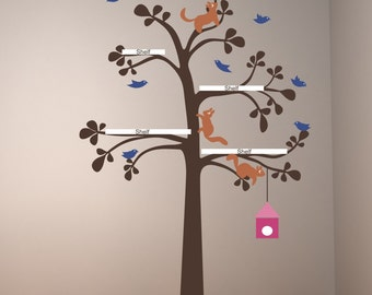 Sale baby room nursery The Original Shelving Tree with Birds and squirrels large  vinyl wall decals