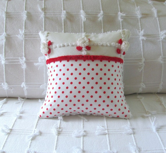 chenille pillow cover 12 X 12 RED DOTS TOO Valentines Day cushion cover