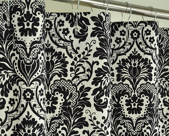 84 LONG Black Damask Shower Curtain 72 x 84 LONG by PondLilly