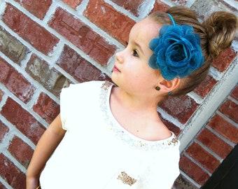 MULTIPLE COLORS Custom Medium Shabby Chic Chiffon & Lace Flower on Skinny Stretch Headband -
