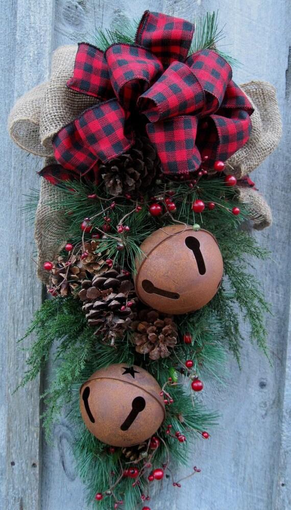 Christmas Swag Holiday Door Wreath Sleigh Bells Woodland