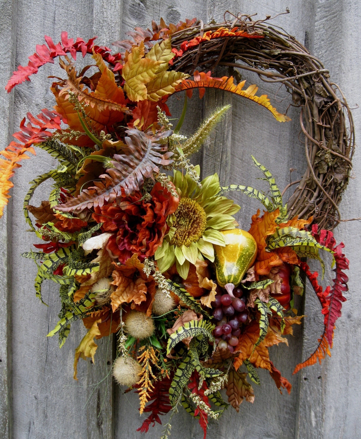 Autumn wreath fall floral designer wreaths sunflowers for Thanksgiving 2016 home decorations