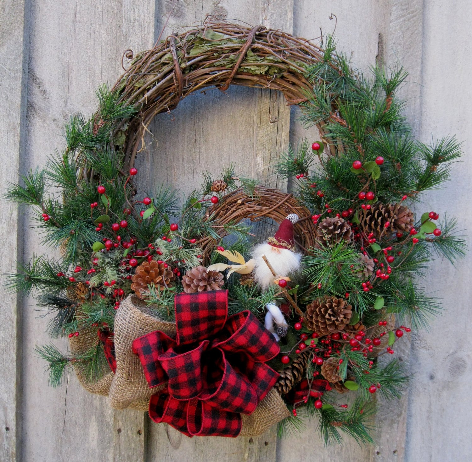 Christmas Wreath Holiday D Cor Woodland Christmas Rustic: christmas wreath decorations