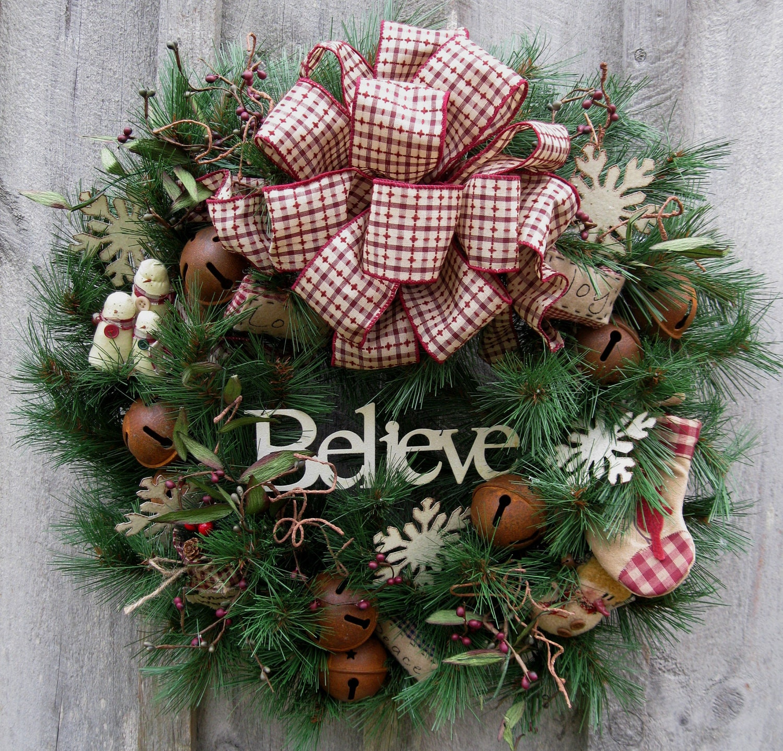 Christmas Wreath Holiday Wreath Woodland Country Snowman
