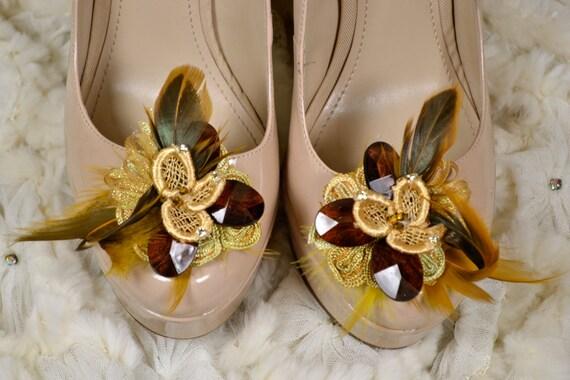 Golden Flower Vintage inspired Shoe Clips