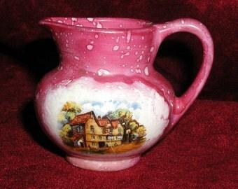 Vintage English Lusterware Mini Creamer Old Castle Pink Lustre Souvenir Pitcher