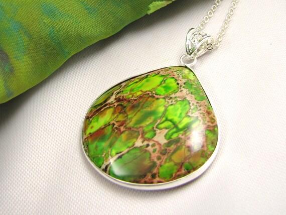 cool  avocado green sterling silver gemstone pendant