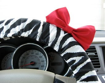 Steering Wheel Cover Bow, Zebra Steering Wheel Cover with Red Bow BF11077