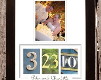 Wedding / Anniversary Gift Frame your Date: Colored Numbers in Brown Frame- Personalized with your own photo