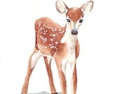 Deer Watercolor Painting - print of watercolor painting animal art - 5 by 7 print - Splodgepodge