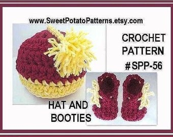 Instant Download PDF Crochet Pattern Baby Hat and Booties SPP56 Cute Pom-Pom Hat and Booties set, newborn to 12 months,  Hat  to 8 yrs.