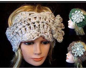 Instant Download PDF Crochet Pattern - Headband - Headwarmer with flower -  women, children, SPP98