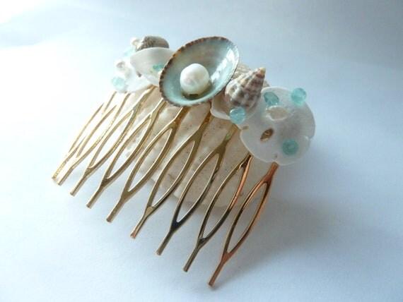 Seashell and Gemstone Hair Comb, Beach wedding, Fairy, Mermaid, Hair comb, Something blue