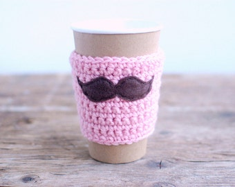 Mustache Coffee Cozy, Reusable Coffee sleeve by The Cozy Project