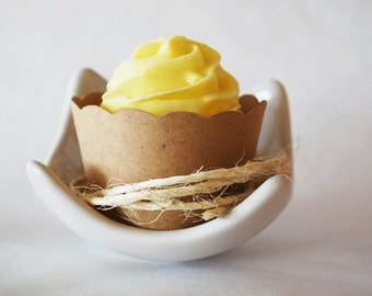 Kraft Paper Wedding Cupcake Wrappers Qty 12 By Your Little Cupcake