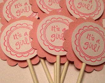 It's A Girl Cupcake Toppers - Set of 12