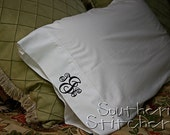 Monogrammed Pillow Cases (2) Pillowcases Initial Pillow Cases Personalized Pillowcases