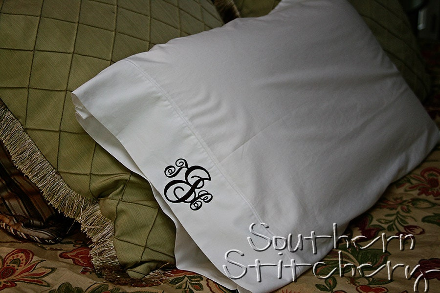Monogrammed Pillow Cases 2 Pillowcases Initial Pillow Cases
