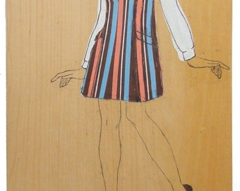 Mod Stripe Jumper, vintage pattern inspired, melon, salmon, sky blue, brown, fashion inspired wall hung on upcycled wood art