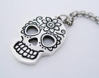 Day of the Dead Skull,  Silver Dia de los Muertos Skull, Sugar Skull, Skull Necklace