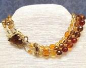 Statement Necklace Amber Topaz 3-Strand Vintage Clasp