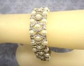 Brides Bracelet White Crystal Pearls Rhinestones OOAK