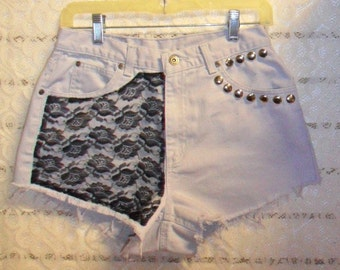 Vintage High Waisted Grey Denim Shorts -  Studded With Lace --Waist 28  inches