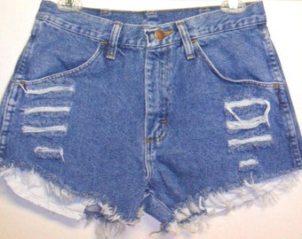 Vintage High Waisted  Denim Shorts -Distressed-- -Waist  29   inches