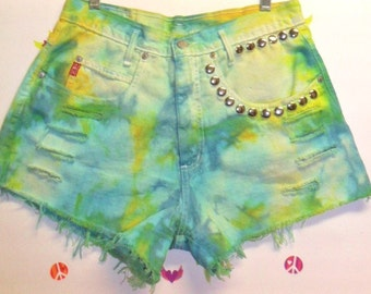 High Waisted TIE  Dyed  Denim Shorts - Studded Waist 31 inches