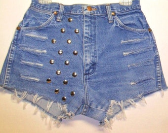 Vintage High Waisted  Denim Shorts -Distressed-- Studded--- -Waist  28  inches ---Ready to SHIP