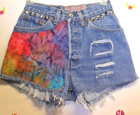 Vintage Levis Button Fly  denim shorts -----Tie dye & Studs--Waist   25   inches