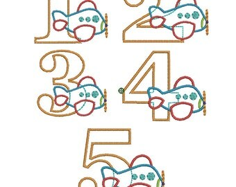 INSTANT DOWNLOAD, Machine Applique Design, Numbers 1-5 with Airplane