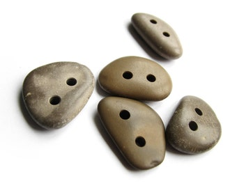 Medium Sized Stone Buttons - Drilled Sea Pebbles - Sewing, Knitting Supply - Earthy Tones