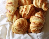 Food Photography - Basket of Croissants - Golden Baked Bread French Pastry - 8x10 Fine Art Photo Print - summerowens