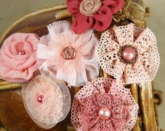 Madrigal Blossom Collection Maestro Mauve 540135   - Fabric flowers - fabrics that mimic crochet, tulle, silks & chiffon. shades of pink