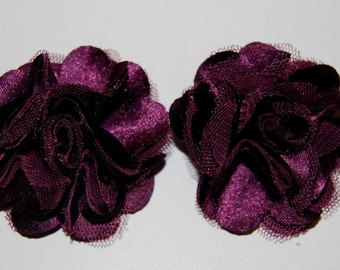 Plum Dark Purple - 2.5''  small satin mesh silk fabric flowers flat back  - use for  shoe clips -  hair clip brooch  ( 2 pieces)