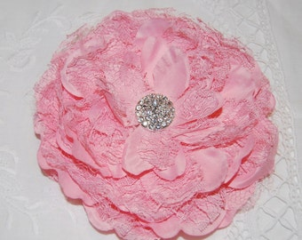 "Pink Lace Peony Flower  - Alyssa Collection - Large 5"" Layered Lace &  Fabric flower with cluster rhinestone gem center  - flat back"