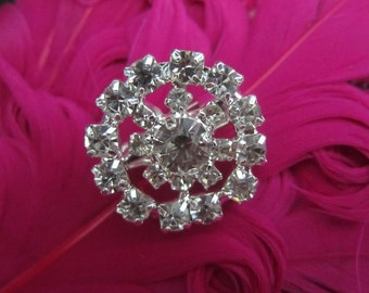 6 pcs - Rhinestone crystal Flat Back flower center  20mm size  - round silver  embellishment  - vintage inspired