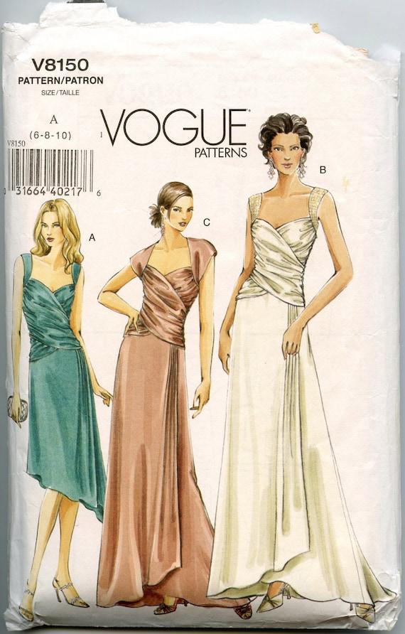 Vogue V8150 Misses Dress Pattern Draped Evening Gown Pattern